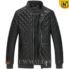 CWMALLS® Men's Black Quilted Leather Jacket CW806012 Fashion men's quilted leather jacket, made with natural, premium sheepskin leather shell, warm polyfill and fully polyester lining, CWMALLS black leather jackets designed in allover quilted details, knit rib collar, cuffs and hem, front full zip closure.  www.cwmalls.com PayPal Available (Price: $617.89) Email:sales@cwmalls.com