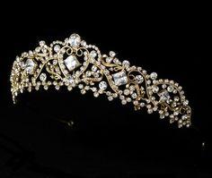 Romantic Gold Rhinestone Bridal Crown Wedding Tiara - Affordable Elegance Bridal -