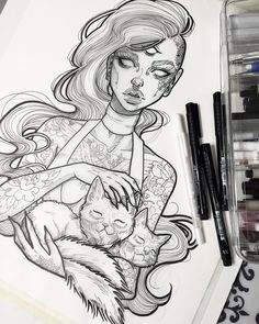"""Spooky three eyed babe with a two headed cat. Pretty standard for a Sunday I also just added an FAQ page & a Commissions page to my shop plus everything…"""