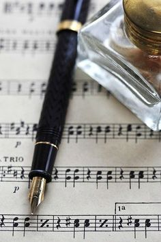 Antique Pen (Could have ostrich feather) & Ink Well on Sheet Music-Mite use as Guestbook decor