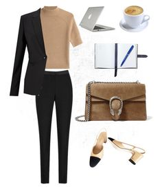 """Meetings"" by corcyraburley ❤ liked on Polyvore featuring Theory, Finesse, Gucci, Chanel, Smythson and Speck"