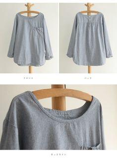 Áo thun xám túi ngực hình nơ phong cách Nhật Bản