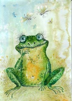 Frogs dream of flies. Funny Frogs, Cute Frogs, Frog Illustration, Frog Drawing, Frog Pictures, Frog Art, Kermit The Frog, Frog And Toad, Whimsical Art