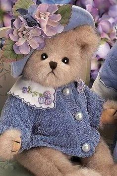Bearington collection teddy bear cute girl bear with a floral hat girl teddy bear in a floral summer dress collectible English teddy