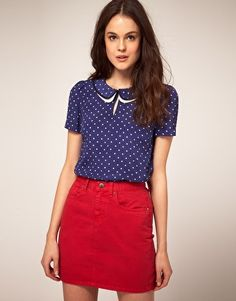 top, double peter pan collar, front keyhole, asterisk polka dots