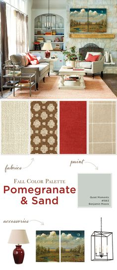Fall color palette with reds and neutrals Quiet Moments paint color on hutch by Benjamin Moore