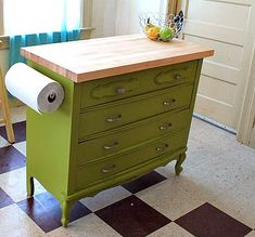 Creative Home Design Ideas - Add a long cutting board wood slab and add legs or wheels to the bottom of a dresser for a mobile kitchen island.