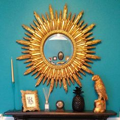 Round Gold Sunburst Mirror 89 cm