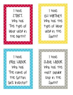 "Here's a set of ""I Have, Who Has?"" cards on the causes of the Civil War."