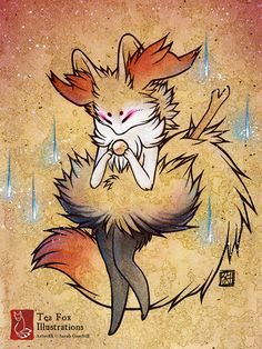 Braixen Pokemon / Kitsune Fox Anime Game by TeaFoxIllustrations, $15.00