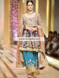 Amorpha Bridal Sharara Make your bridal look stunning and more gorgeous a Pakistani Bridal Lehenga, Bridal Anarkali Suits, Pakistani Formal Dresses, Pakistani Couture, Pakistani Outfits, Pakistani Clothing, Walima, Wedding Outfits Uk, Wedding Dresses Uk
