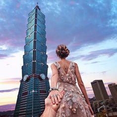 Murad Osmann: Taipei 101 with Anyone from Taiwan 🇹🇼? We were there last year, but . Murad Osmann, Taipei 101, Taipei Taiwan, Earth City, Taiwan Travel, Flirting Tips For Girls, Walk This Way, Photo Series, How To Pose