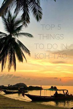 Top 5 Things To Do In Koh Tao. Sunset at Mango Bay Viewpoint, Watch the sunrise at Love, John Suwan Viewpoint and Freedom Beach Koh Tao, Hike the coast from Mae Haad to Chalok, Visit Koh Nang Yuan