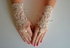 Elegant long lace glove cappuccino lace ribbon bridal by newgloves, $28.00