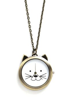 Cat Your Eye on the Time Necklace. When you cant be late for a very important date, be sure to slip on this cat pocket watch necklace! #white #modcloth