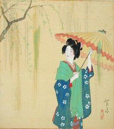 Umbrella Ukiyoe-Gallery.com Article: The Newly Discovered Watercolors of Shiro Kasamatsu