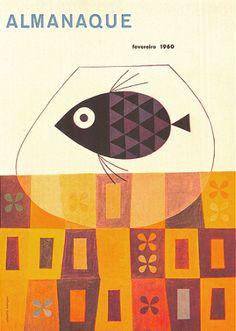 Cover art for Portuguese magazine Almananque, February Cover Art, Design Art, Graphic Design, Interior Design, Retro Illustration, Vintage Illustrations, Book Jacket, Book Cover Design, Book Design