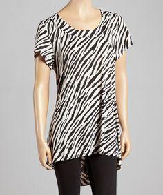 Another great find on #zulily! Black & White Zebra Hi-Low Tunic #zulilyfinds
