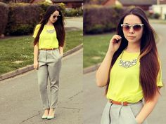 H&M Sunglasses, Primark Necklace, Dorothy Perkins Lime Textured Tee, Asos Peg Trousers, Topshop Suede Heels