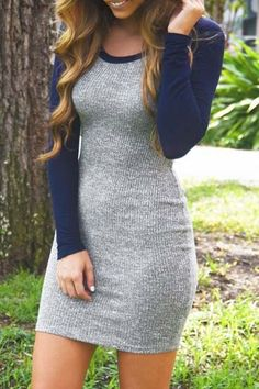 Women's fashion | Casual long-sleeves grey and blue mini dress