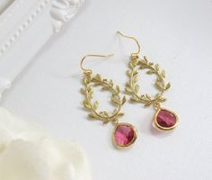 Modern Jewelry Lauren Leaf Gold Wreath Light Ruby TearDrop Glass Jewel Earrings 14K Gold Filled Ear Accessory Wedding Bridal, Everyday Wear