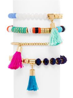 Antigua Bracelet Quartet from BaubleBar Bright tropical hues deck out this beaded and tasseled bracelet set. Tassel Bracelet, Tassel Jewelry, Bracelet Set, Beaded Jewelry, Bead Jewellery, Jewelry Bracelets, Layered Fashion, Jewelry Stand, Jewelry Box