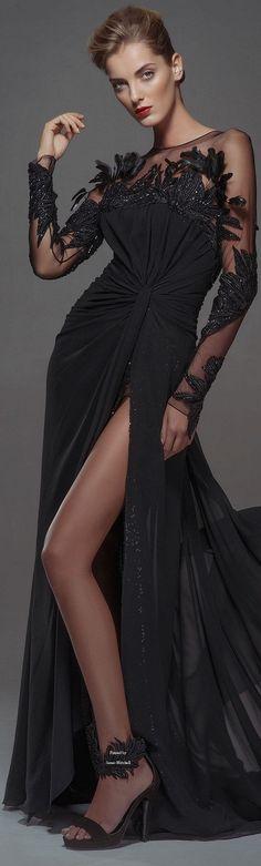 Blanka Matragi Couture Fall-winter 2015-2016 jαɢlαdy.A STUNNING BLACK EVENING GOWN.CHERIE