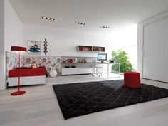 Bedroom Design Ideas in Cheerful Inspiration: Awesome Teen Room Decor By Zalf Showing Black Carpet And Red And White Bedding Beside The Mode. Teenage Girl Bedroom Designs, Teen Room Designs, Teenage Girl Bedrooms, Girls Bedroom, Girl Rooms, Funky Bedroom, Childrens Bedroom, Woman Bedroom, Master Bedroom Interior