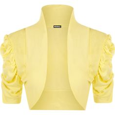Designer Clothes, Shoes & Bags for Women Top 14, Shrug Cardigan, Yellow Cardigan, Plus Size Chic, 2016 Trends, African Attire, Mellow Yellow, Arm, Ruffle Blouse