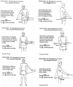 7 Unique Rotator Cuff Strengthening Exercises for Solid Shoulders rotator cuff strengthening exercises - rehab handout / also for frozen shoulder Shoulder Rehab Exercises, Frozen Shoulder Exercises, Shoulder Stretches, Shoulder Workout, Isometric Shoulder Exercises, Isometric Exercises, Fitness Video, Sport Fitness, Pilates
