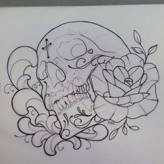 magnificent :D - magnificent 😀 - Evil Skull Tattoo, Skull Rose Tattoos, Skull Tattoo Design, Tattoo Design Drawings, Tattoo Sketches, Art Drawings, Dibujos Tattoo, Desenho Tattoo, Tattoo Lettering Styles