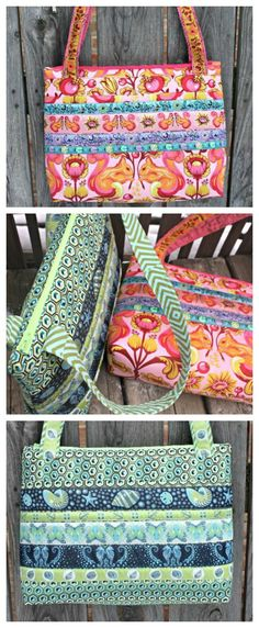 Free zipper bag sewing pattern. This bag is quick to make but still gorgeous. Zipper top, straps and I quilted mine to the foamy stabilizer too, although that's optional. One of my favorite run-around bags.