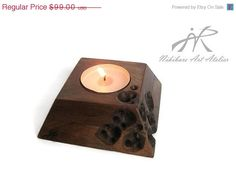 SALE 40% Abstract wooden candle holder hand by NikibarsNatureArt