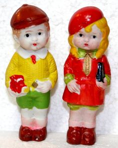 "2 VINTAGE BISQUE JAPAN DOLLS - BOY & GIRL 4"" S356 S355 TOYS TRUCK BOOK PURSE"