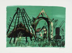 John Piper 'Avoncroft Museum', 1976 © The Piper Estate John Piper Artist, Tate Britain, Colour Schemes, Traditional Art, Printmaking, Screen Printing, Museum, Drawings, Illustration