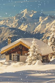 Snow Cabin, The Alps, Switzerland. If I had views like that, I probably wouldn't leave the cabin very often. The Places Youll Go, Places To See, Beautiful World, Beautiful Places, Amazing Places, Snow Cabin, Winter Cabin, Cozy Cabin, Cozy Winter