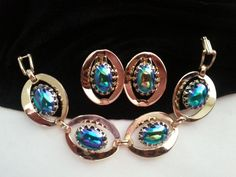 Bracelet Earring Set * Vintage Demi Parure * 1950's 1960's Retro Collectible Jewelry * Mad Men Mod * by MartiniMermaid on Etsy