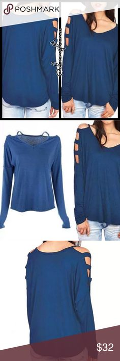 Caged cold shoulder top Pull on styling. True to size S(4-6)M(8-10)L(12-14)XL(16). Blue color. Small v-neck line. Rounded hem. 90% cotton, 10% polyester. Basic yet cute with the caged cold shoulder detail. Full length sleeves. @danglina Tops Tees - Long Sleeve