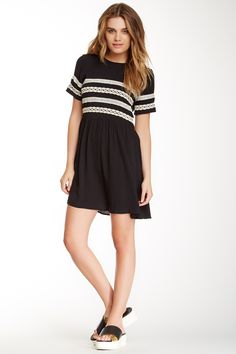 Elodie | Crinkled Crochet Trim Dress - Cute dress for back to school.