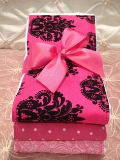 NEW ITEM GIRLY Baby Girl Burp Cloth Set of 3 by BabyCakesByBella, $16.45