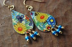 RESERVED FOR PAM Vintage Tin Teardrop Earrings by EntwyneDesigns