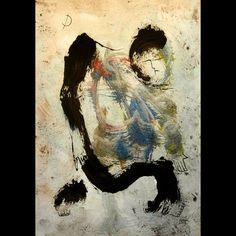 Original acrylic Zen Man Under Moon colourful by ArtistDavidKing