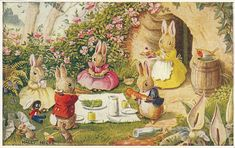 Bunnies' Picnic by Racey Helps Vintage Postcard