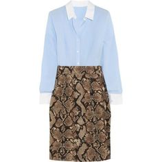 Pinstriped crepe de chine and python-print twill shirt dress