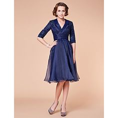 A-line V-neck Knee-length Organza Mother of the Bride Dress –I think mom would REALLY like this one!