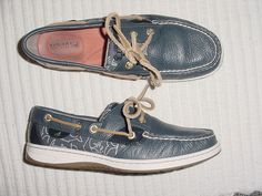 WOMENS SPERRY TOP SIDER NAVY TUMBLE LEATHER WHALE PRINT BOAT SHOES 7.5 M #SperryTopSider #BoatShoes
