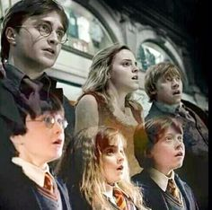 First year vs. Last year at Hogwarts  Harry, Ron and Hermione; The Golden Trio