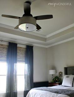 Crazy Wonderful: fantastic DIY drum shade light fixture on a Hunter Highbury ceiling fan