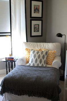Hello to the perfect reading & relaxing spot! For the corner of our master bedroom.