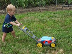 WHO is mowing the lawn? - - photos for working on WHO questions - - Pinned by @PediaStaff – Please Visit ht.ly/63sNt for all our pediatric therapy pins